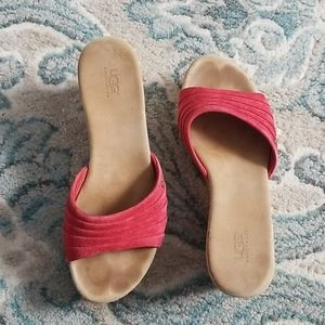 UGG  Suede Red  Sandals Size 7